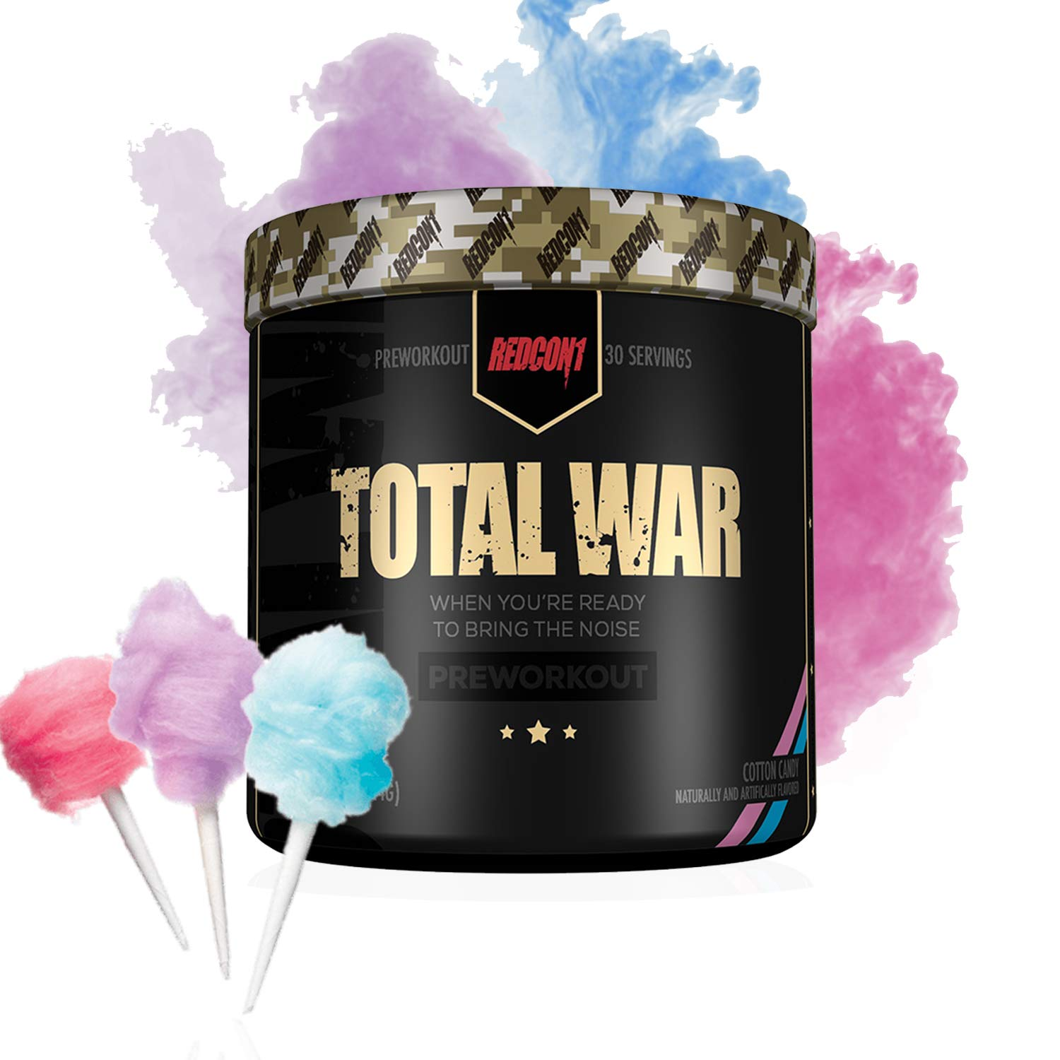 RedCon1 Total War Newly Formulated Pre Workout Energy Powder, Caffeine, Citrulline Malate, Beta-Alanine, Agmatine, Taurine, Caffeine, Nitric Oxide 30 Serving Cotton Candy