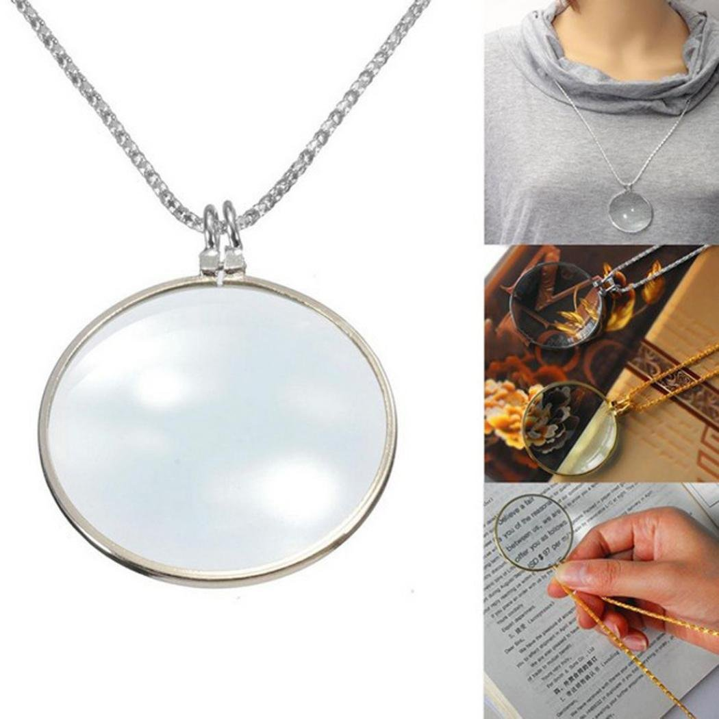 Sinfu® 1PC Chokers Necklace For Women Magnify Glass Reeding Decorativ Monocle Necklace Pandent Jewelry Gift (Silver)