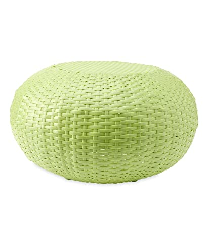 Peachy Plow Hearth 39488 Lim Tangier Wicker Footrest Pouf Patio Ottoman Small Lime Machost Co Dining Chair Design Ideas Machostcouk
