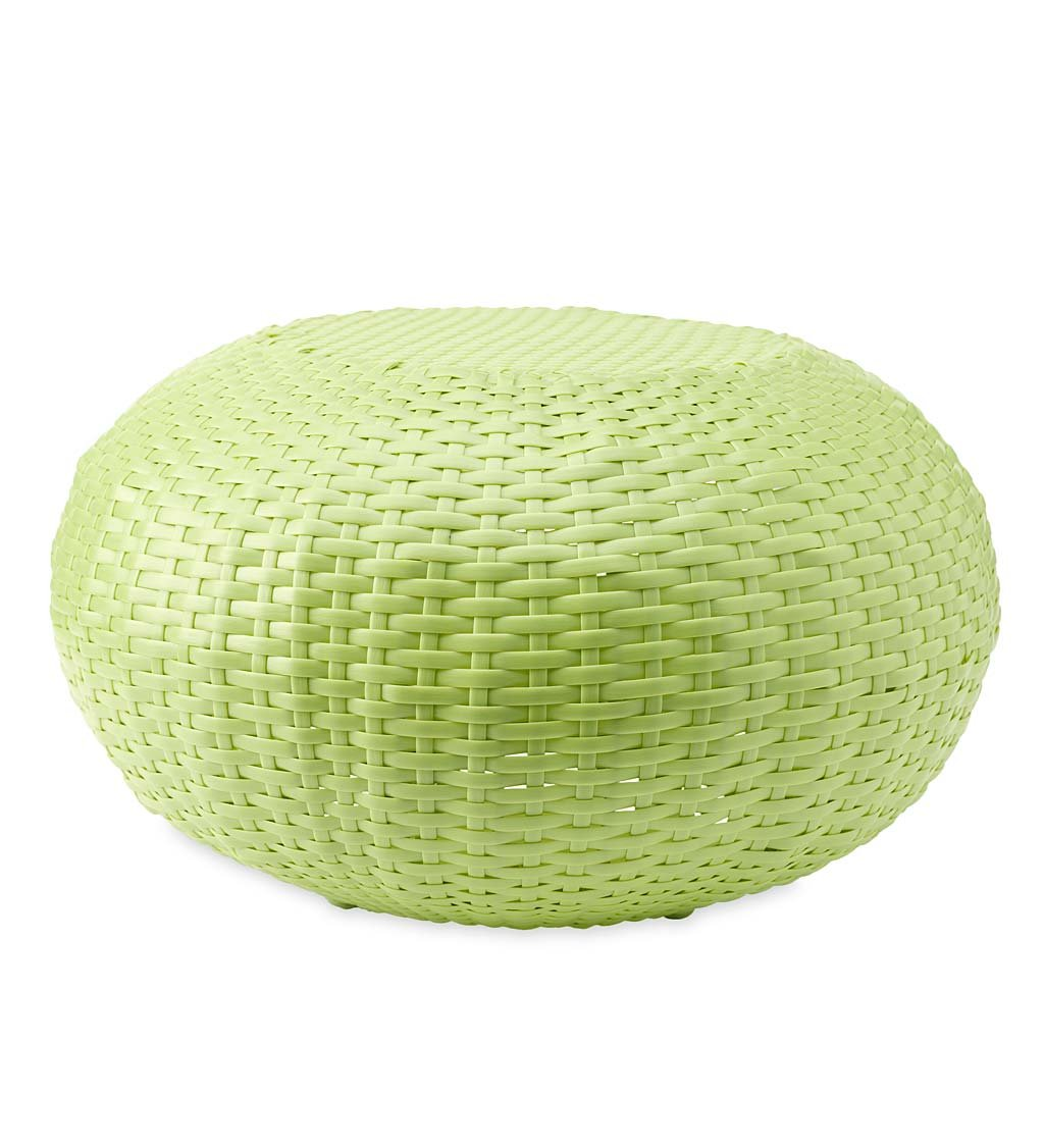 Plow & Hearth Tangier Wicker Ottoman Footrest Pouf - All Weather Resin Steel Frame - 250 LB Weight Capacity - Use on Patio, Deck, Yard Indoors - Small 19.5 Dia. x 12 H - Lime