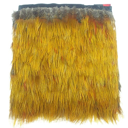 KOLIGHT Sexy Natural Gold Silk Pheasant Feather Trim Fringe 2~3inch in Width DIY Decoration (5 Yards)