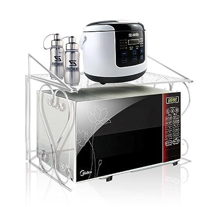 Unidad de almacenamiento de metal para horno microondas con estante superior, color blanco