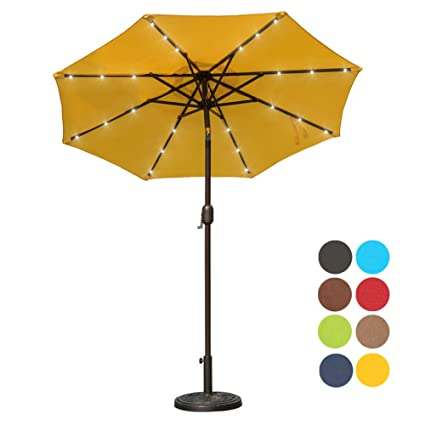 Attrayant Sundale Outdoor 7 Ft Solar Powered 24 LED Lighted Patio Umbrella Table  Market Umbrella With Crank