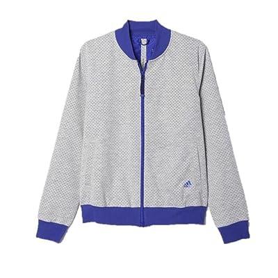 Adidas Women's ST Perforated Full Zip Track Jacket (Medium) Gray/Purple AI6432