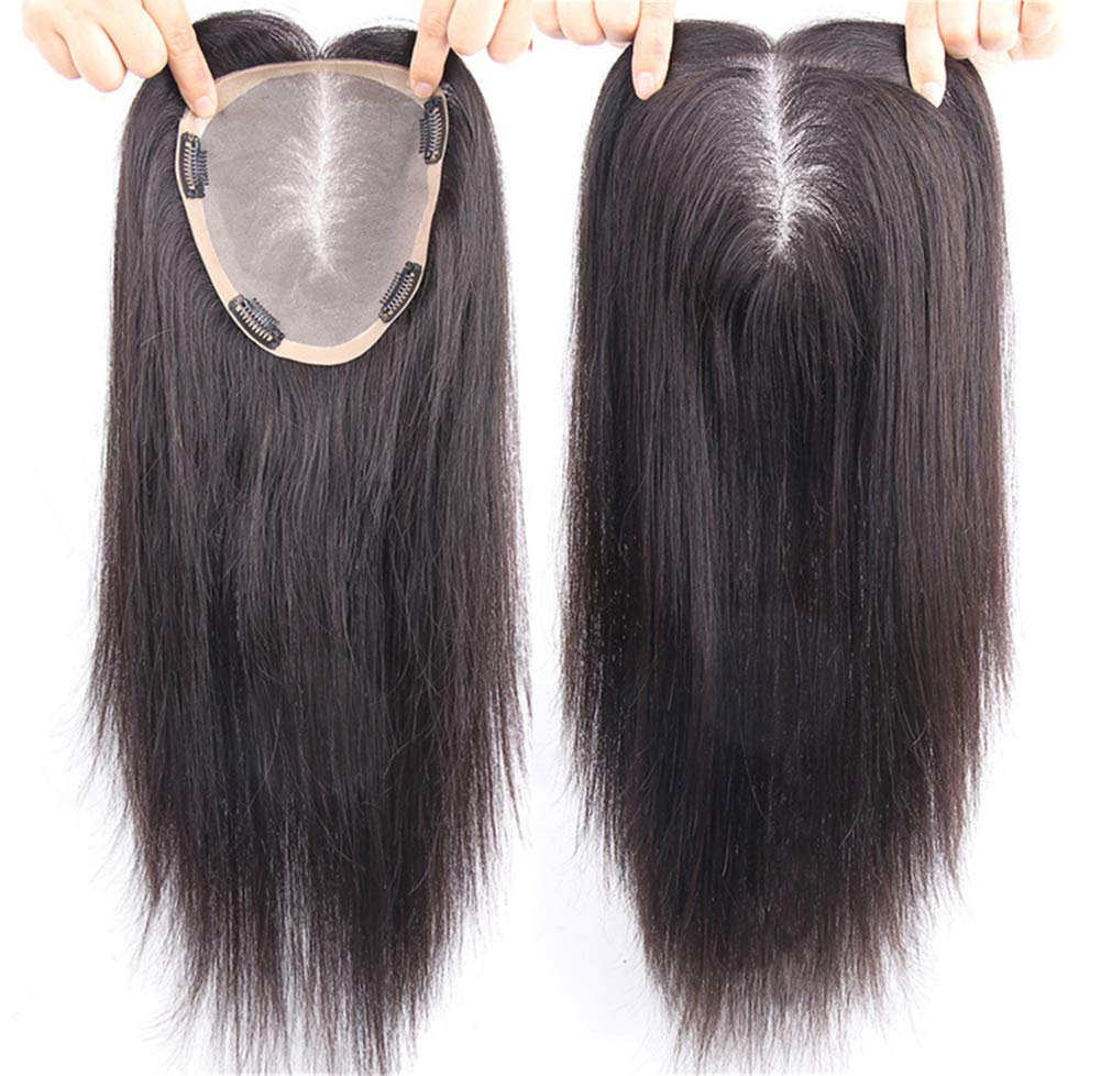 Free Parting Human Hair Clip in Toppers for Women, 6''x 6.7'' Large Mono Crown Topper Hairpieces for Thinning Hair, 16'' Dark Brown by Susanki (Image #1)