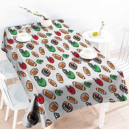 (EwaskyOnline Fashions Rectangular Table Cloth,American Football Cartoon Style Rugby Icons Balls American Culture Competitive Game Sports,Table Cover for Dining,W60x120L,)