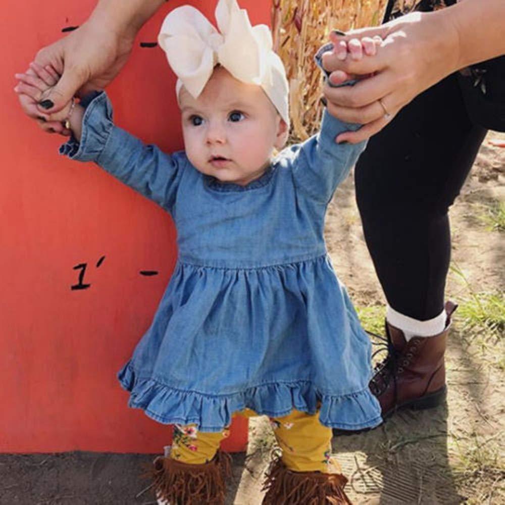 BOIZONTY Baby Girl Ruffle Demin Dress Long Bell Sleeve Loose Sundress Little Princess Tutu Party Dress Fall Clothes