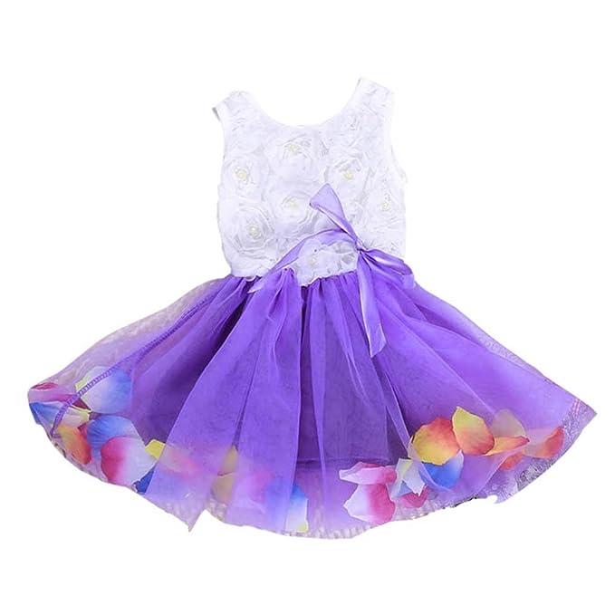 Bebé Niña Fiesta Desfile Vestido Flor De Encaje Tutu Tul Princesa Arco 3R5AL4j