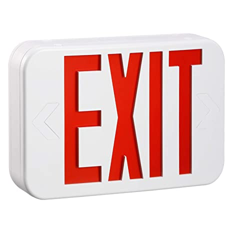 torchstar red led exit sign emergency light, ceiling side back mount, ac 120v 277v, recharged battery included, single double face, ul listed, for 120V Electrical Switch Wiring Diagrams
