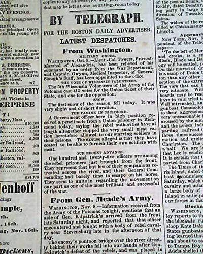 Daily Advertiser Newspaper (SECOND BATTLE OF RAPPAHANNOCK STATION & Fort Sumter 1863 Civil War Newspaper BOSTON DAILY ADVERTISER, Nov. 10, 1863)