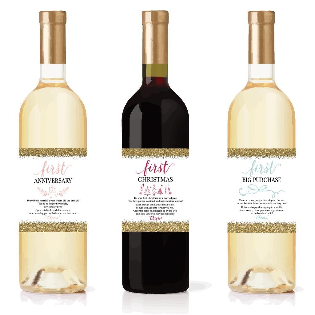 Amazon.com   6 Wedding Milestones Gift Wine Bottle Labels or Sticker ...