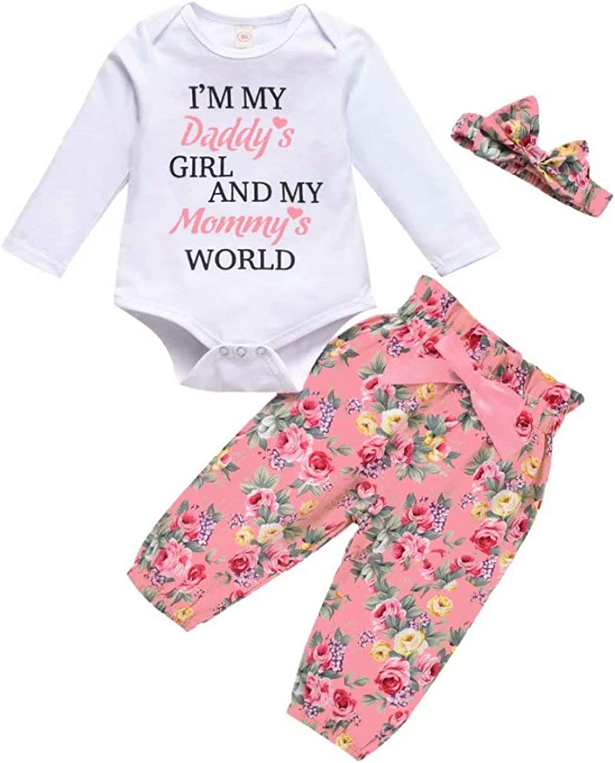 Baby Girl Clothes Infant Outfits Long Sleeve Bodysuit Ruffle Rompers Floral Pants with Headband/Hat 3 Pcs
