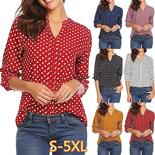 Autumn Women Sexy V Neck Shirts Casual Long Sleeve Tops Ladies Fashion Dot Printing Shirt Retro Loose Lady Long Sleeve Cardigan Shirt Female Plus Size S-5XL (Prussian Blue,M) ()