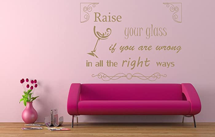 Pink Song Lyrics Quote, \'Raise your Glass\', Vinyl Wall Art Sticker ...