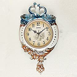 SSBY Peacock personality creative vintage retro clock watches the living room wall clock large color silent clock decoration ,c