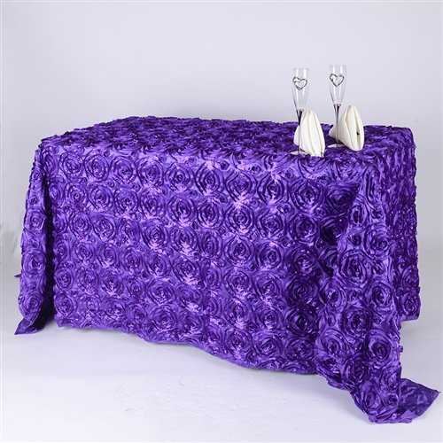 BBCrafts 90 Inch x 132 Inch Rosette Florals Satin Rectangular Tablecloths (Purple) ()
