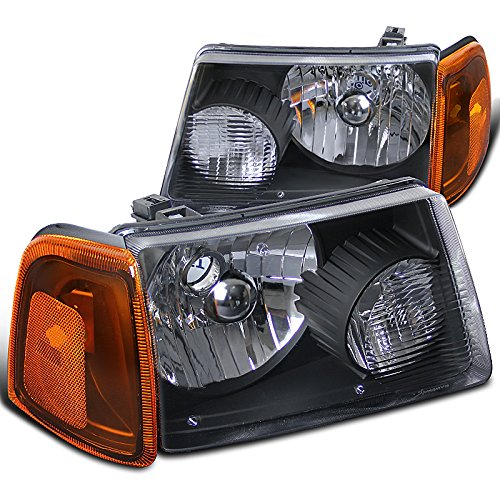 Headlights Diamond Black - Spec-D Tuning 2LCLH-RAN01JM-RS Ford Ranger Euro Diamond Black Headlights w/Amber Corner Lamps