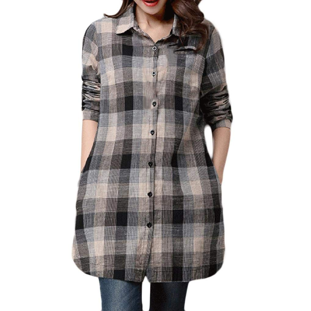 Tsmile Clearance Women Plus Size Lattice Cotton and Linen Long Sleeves Loose Shirt Tops Blouse Cardigan Coat