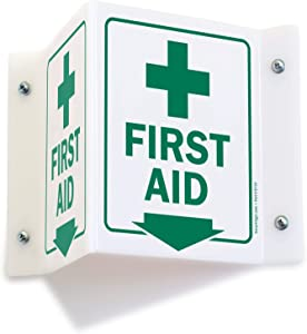 "SmartSign""First Aid"" Projecting Sign with Down Arrow 