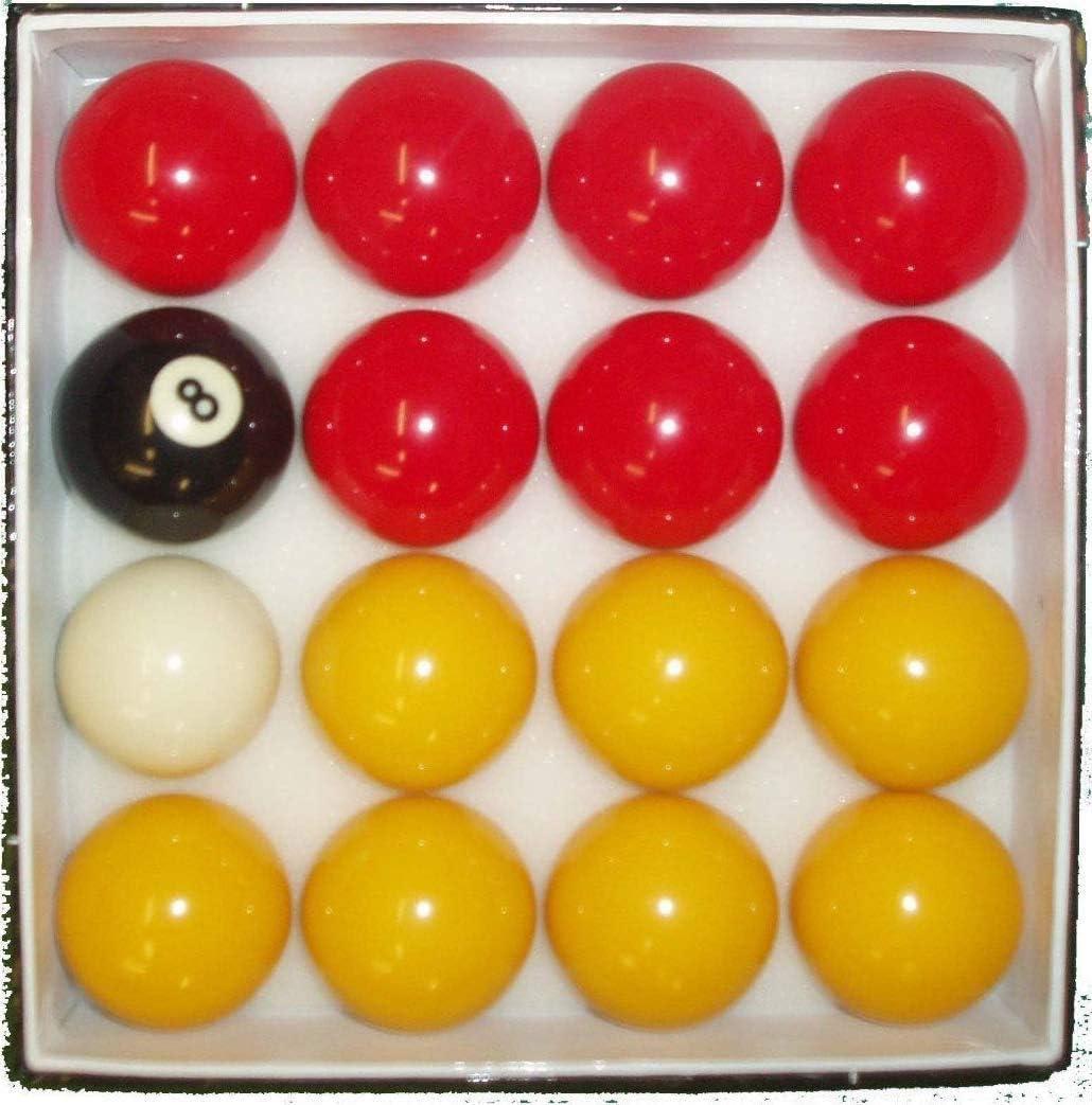 BILLARES Y DARDOS CAMARA Juego de Bolas de Billar Americano de Casino Amarillas y Rojas (50,8mm y Blanca 47,8mm): Amazon.es: Deportes y aire libre