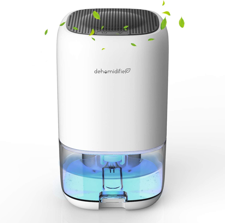 Deshumidificador Eléctrico portátil, 1000 ml Mini Deshumidificación, Silencioso, 7 Colores LED, Compacto,Bajo Consumo de Energía, Ideal para Cocina, Dormitorio, Oficina, Caravanas, Garajes