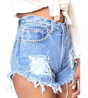 Gladiolus Femmes Déchiré Taille Haute Denim Short en Jean Trous Shorts  Court Jeans Chaud Pantalons Bleu. Passez la souris sur ... a5a189cd356