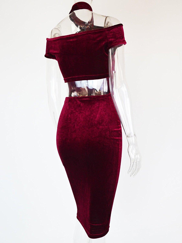 Women\'s Sexy Halter Off Shoulder Velvet Midi Club Bodycon Dress Burgundy M
