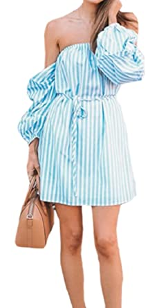 663578ced713 FLCH+YIGE Women s Sexy Summer Striped Off Shoulder Long Sleeve Mini Dress  As Picture XS