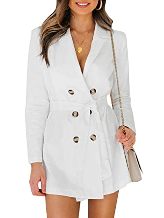 ae971668f4a4 Glamaker Women's Sexy Deep V-Neck Coat Elegant Button Trench Casual Outwear  with Belt_Small