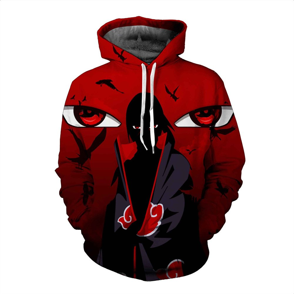 Kalanman Mens Fashion Digital Printed Front Pocket Pullover Hooded Sweatshirt (US SIZE M_40 ( Tag XL ), Red Itachi)