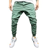 Sumen Men's New Pure Colored Loose Multi-Pocket Workwear Pants Tether Trousers