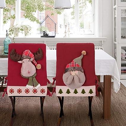 Christmas Chair Back Covers.Viame Christmas Chair Back Covers 2 Pack Handmade Santa Hat Chair Covers For Christmas Kitchen Decor