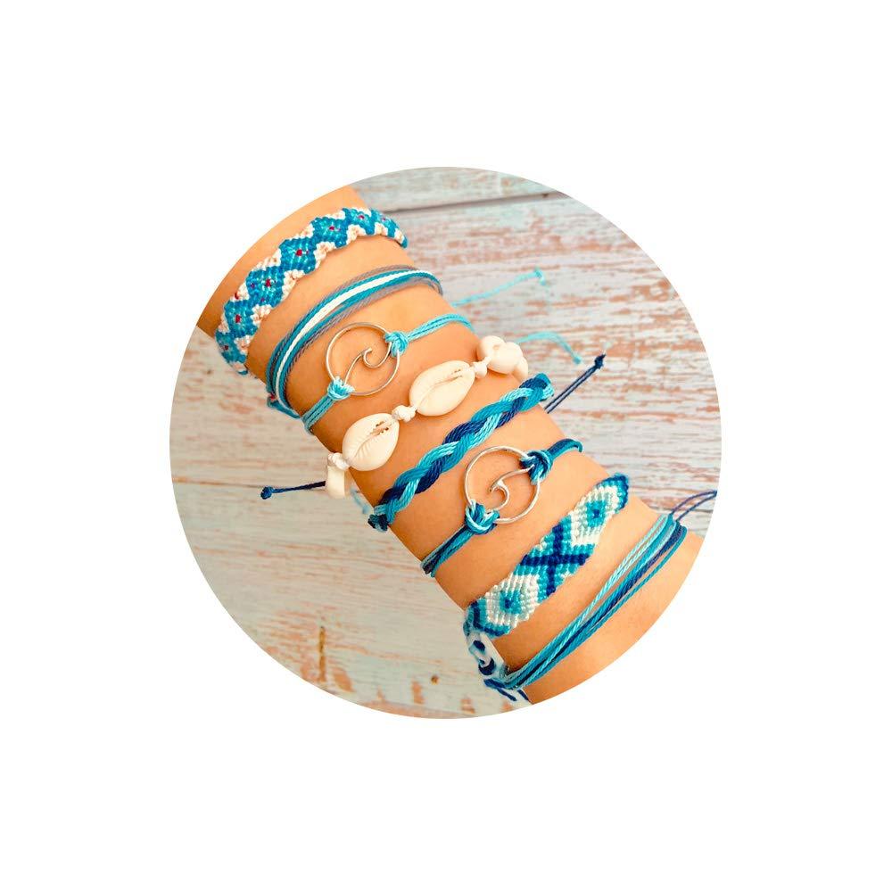 FINETOO Blue Wave Wax Coated Rope Bracelet Set Handmade Shell Weave Strand Bracelet for Woman Girls by FINETOO