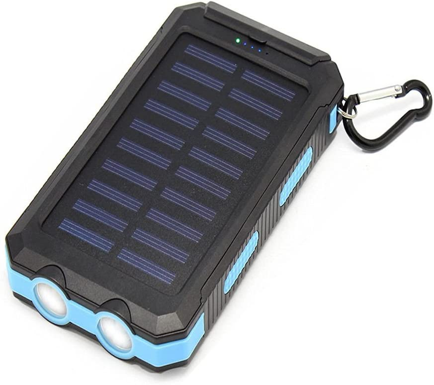 Portable Solar Charger Power Bank Hongro 20000mAh Emergency Dual USB Waterproof Solar Battery Bank Charger Power Bank Solar Panel Charger with Compass and 2LED Flashlight for iPhone iPad Samsung and Android Cellphones Black+Orange