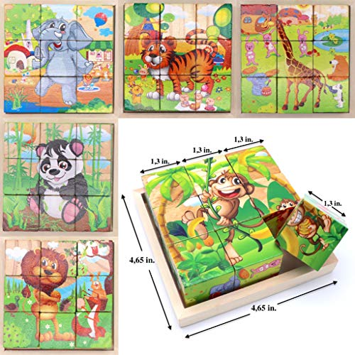 - Wooden Cube 3D Puzzle - Jungle Animals| Wooden Cubes - 3D Puzzle (6 in 1) with Tray | Developing of Fine Motor Skills, Memory Toys for Kids | Learning Shape, Color and Sorting (Jungle Animals)