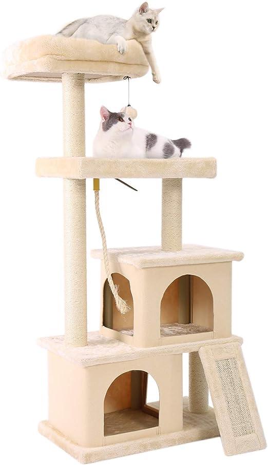 PAWZ Road Árbol para Gatos con casa para Gato, Escalador para Gatos 4 Plataformas Árbol de Actividades 60 * 35 * 127cm Beige: Amazon.es: Productos para mascotas
