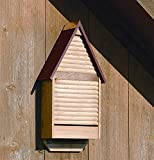 Bat House w Natural Cypress Red Roof