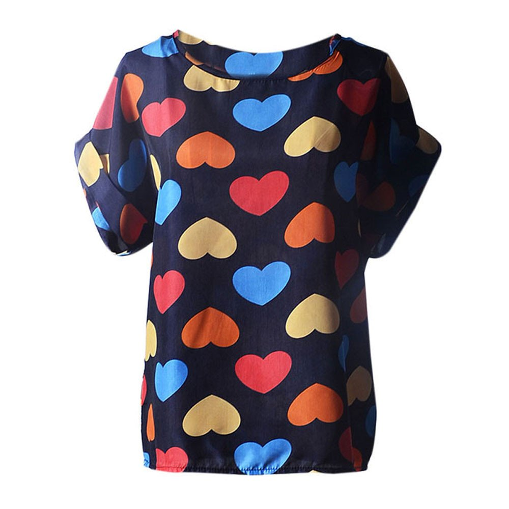 iLOOSKR Women's Short Sleeve T-Shirt, Women's Loose Chiffon Shirt Top Tropical Dot Print Pullover Blouse(Blue, L)