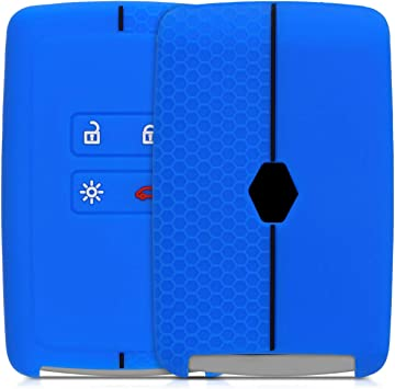 kwmobile Funda de Silicona Compatible con Renault Llave de Coche Smart Key de 4 Botones - Carcasa Suave de Silicona Solo Keyless Go Case Mando de Auto Azul Oscuro//Negro