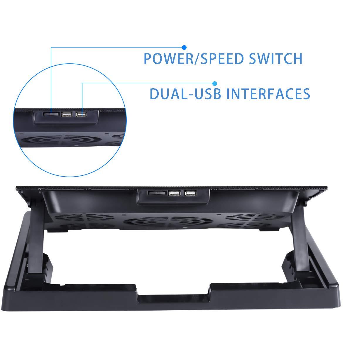 2 Ports USB 2.0 slopehill Ventilateur PC Portable Refroidisseur Ordinateur Portable 10-17 Pouces Support de Montage R/églable avec 5 Ventilateurs Silencieux et Lumi/ère Bleu LED