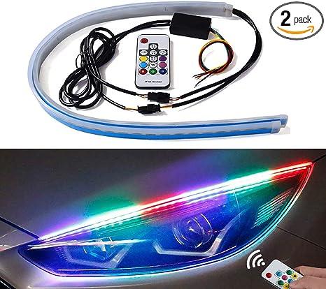 TORIBIO Headlight Strip Flexible Ultrathin LED Strip 30cm 11 Inch Dual Color White//Amber Daytime Running Light Waterproof Sequential Lamp Turn Signal Light 2-Pack