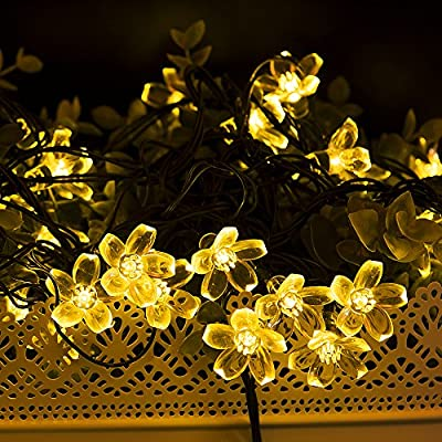 WishWorld Outdoor Solar Fairy String Lights, Waterproof Blossom Flower Light, 21ft 50 Led Christmas Lights Decorative Lighting for Indoor, Gardens, Party, Patio and Holiday Decorations
