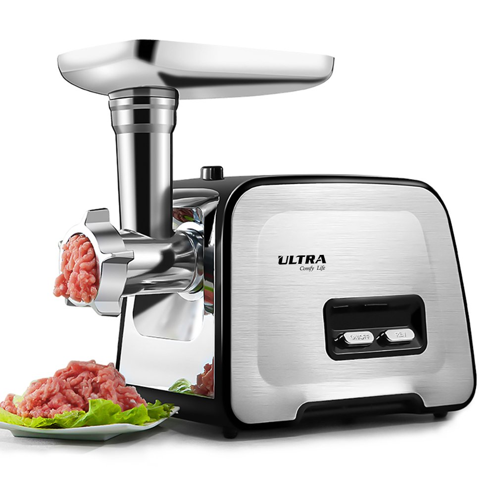 Electric Meat Grinder, Ultra Stainless Steel Meat Mincer & Sausage Stuffer, Sausage & Kubbe Kit Included, 3 Grinding Plates, 2 Blades, 2000W Max, Concealed Storage Box, Home Kitchen & Commercial Use