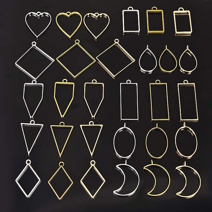 DROLE 40Pcs Antique Silver Open Back Bezel Pendants Assorted Geometric Hollow Frame Pendant Blanks for DIY Resin Crafts