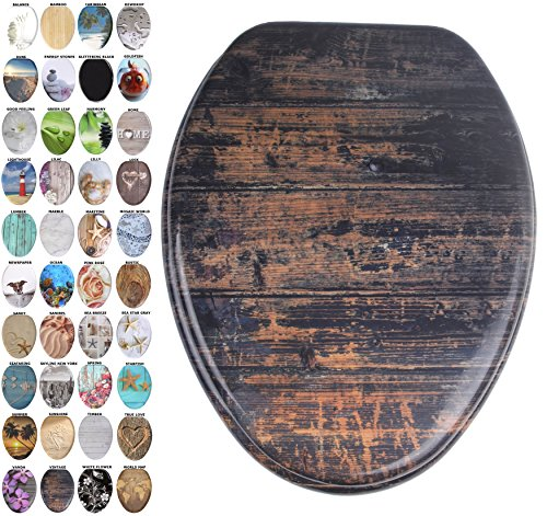 Sanilo Elongated Toilet Seat, Wide Choice of Slow Close Toilet Seats, Molded Wood, Strong Hinges (Vintage) ()