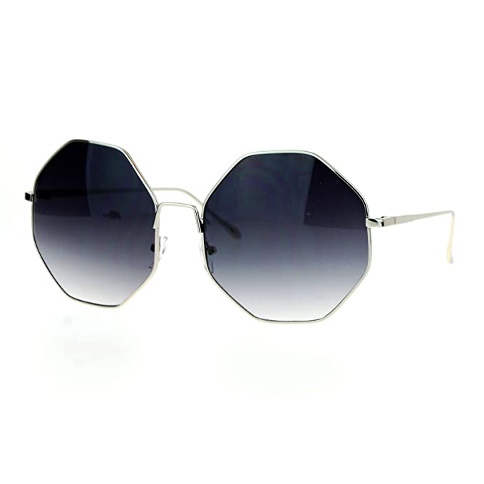 Amazon.com: Forma Octogonal marco de metal anteojos de sol ...