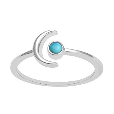 925 Silver Round Bezel Set Turquoise Crescent Moon Open Wrap Ring 5