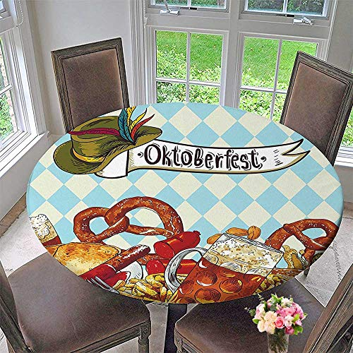 Round Polyester Tablecloth Table Cover Bread Pretzel Carnival