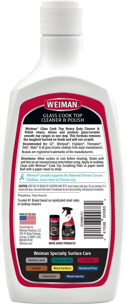Weiman Glass Cook Top Cleaner and Polish - 20 Ounce [2 Pack] Heavy Duty No Scratch Glass Ceramic Safe Non-Abrasive Stovetop Cooktop Cleaner by Weiman (Image #2)