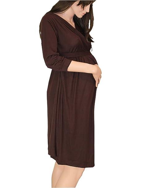 Maternidad Embarazo marrón Wrap Dress día noche oficina inteligente Marrón marrón 38